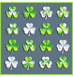 Set of grey and green 3d Patricks leaf clover vector image vector image