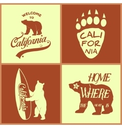 Set of vintage monochrome california emblems and vector