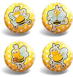 Set of yellow bee badges vector