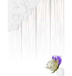 Shading white wood panel with hearts and flowers vector