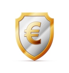 shield with euro sign vector image vector image