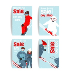 Skier and snowboarder fun winter sport flyer vector