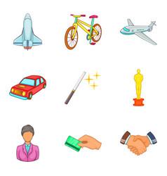 Social coaching icon set cartoon style vector