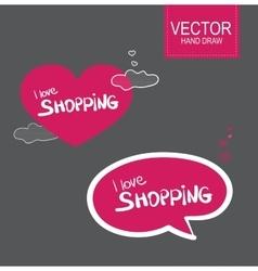 Stiker set i love shopping vector