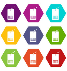 Tag with bar code icon set color hexahedron vector