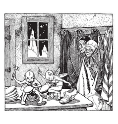 The elves and the shoemaker vintage vector