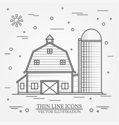 Thin line american farm icon vector