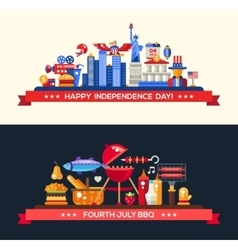 Usa independence day and bbq banners set vector