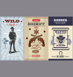 vintage wild west vertical banners vector image
