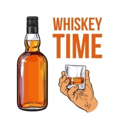 Whiskey bottle and hand holding full shot glass vector image
