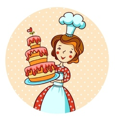 Woman in kitchen beautiful baker vector