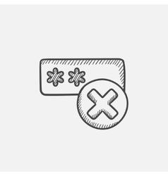Wrong password sketch icon vector