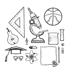 School drawn set isolated on white background vector image
