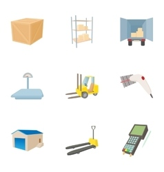 Cargo packing icons set cartoon style vector