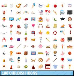 100 childish icons set cartoon style vector