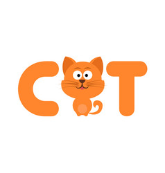 Cute cartoon cat with letters vector