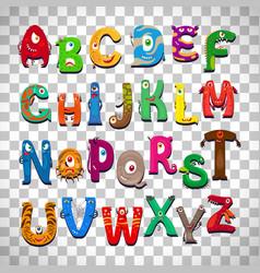 monster alphabet on transparent background vector image