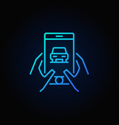 Hands holding phone with car icon vector