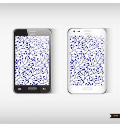 Set of two Realistic mobile phone with blue floral vector image