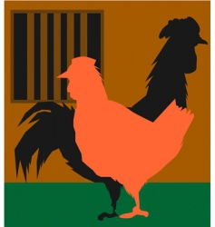 Hen and cock vector