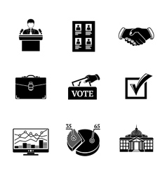 Set of election icons - votebox handshake vector