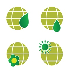 Natural green globe icon vector
