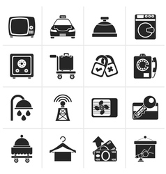 Black Hotel and motel room facilities icons - vect vector image