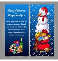 Snowman with bag of gifts and alcohol vector