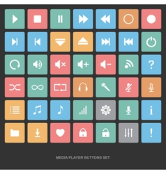 Set of flat media player buttons vector