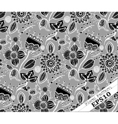 Repeating Floral Background PatternGrey and black vector image