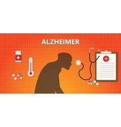 Alzheimer old people with medicine vector
