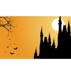 Silhouette of big castle and bat halloween vector
