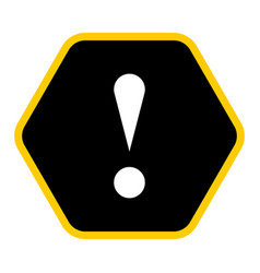 black hexagon exclamation mark icon warning sign vector image vector image