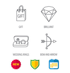 Brilliant gift and wedding rings icons vector