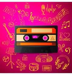 Cassette and hand draw misic icon vector