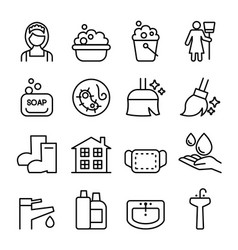 cleaning housekeeping wipe washing icon set in vector image vector image
