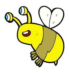 comic cartoon happy bee vector image