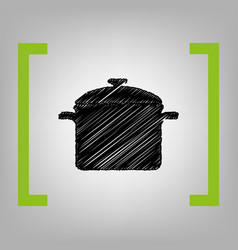 Cooking pan sign black scribble icon in vector
