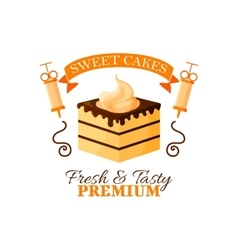 Dessert cake or chocolate cupcake icon vector