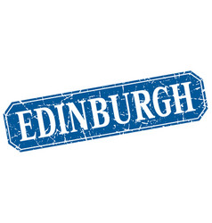Edinburgh blue square grunge retro style sign vector