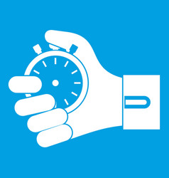 Hand holding stopwatch icon white vector
