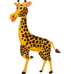 happy giraffe cartoon vector image vector image