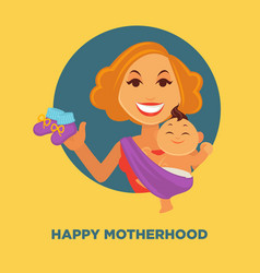 happy motherhood promotional poster with woman and vector image vector image