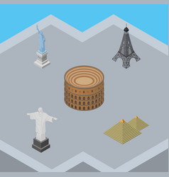 Isometric architecture set of rio egypt coliseum vector
