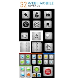 Mega set of metallic web mobile buttons vector image vector image