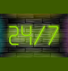 neon message on brick wall open 24 7 vector image