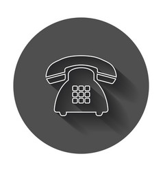 Phone icon old vintage telephone symbol with long vector
