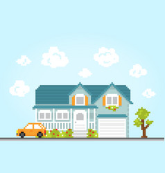 Pixel art style retro game city location house vector