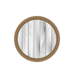 round wooden frame with rope isolated on white vector image vector image