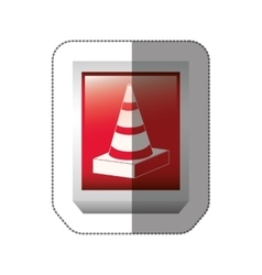 Sticker rectangle button with striped traffic cone vector